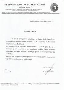 Referencje od Stadni Koni w Dobrzyniewie