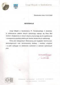 Referencje od urząd miasta w Sandomierzu
