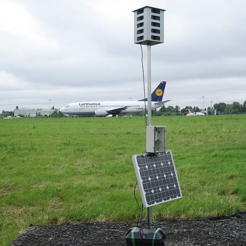 Montaż systemów biosonicznych Bird Gard na lotnisku